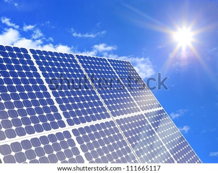 Solar panel on a sunny day - stock photo
