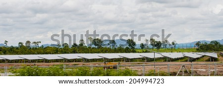 Solar Panel On the day, the sky is overcast - stock photo