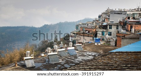 Solar panel on the roof in Yunnan,China - stock photo