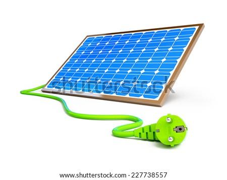 solar panel power plug on a white background  - stock photo