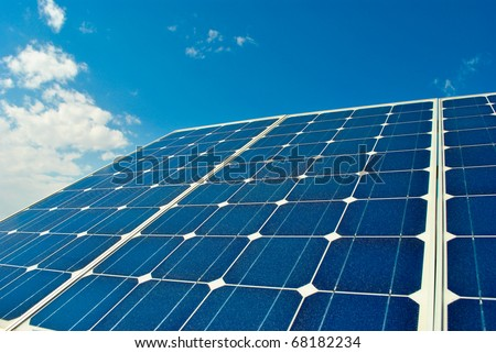 solar panel power production green economy - stock photo