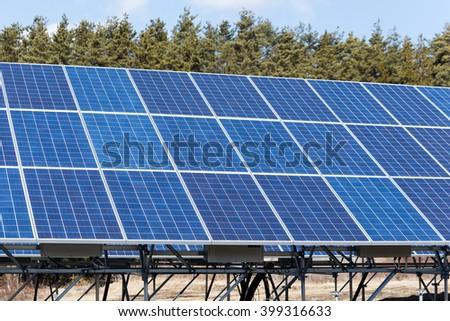 Solar panel power station - stock photo