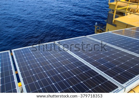 Solar panel renewable electricity use in the offshore. - stock photo