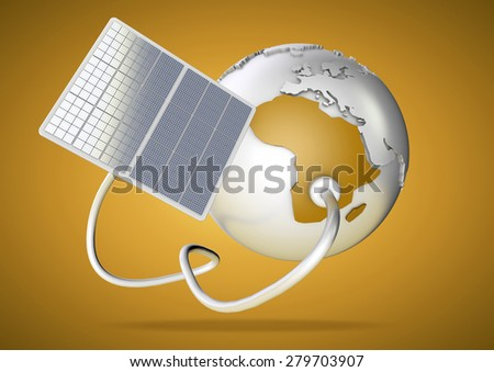 Solar panel supplies power from the sun to Africa. Concept for green power sources and energy supply to the world. - stock photo