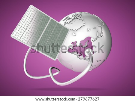 Solar panel supplies power from the sun to Europe. Concept for green power sources and energy supply to the world. - stock photo
