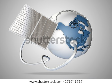 Solar panel supplies power from the sun to North America. Concept for green power sources and energy supply to the world. - stock photo
