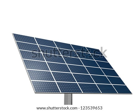 Solar panel system for alternative green energy, isolated on white background. - stock photo