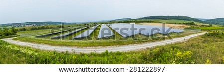 solar panel under cloudy sky in Bingen, Germany - stock photo