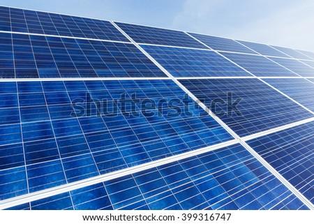 Solar panel under sunny day - stock photo