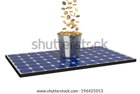 Solar Panel with buckets full of coins - stock photo