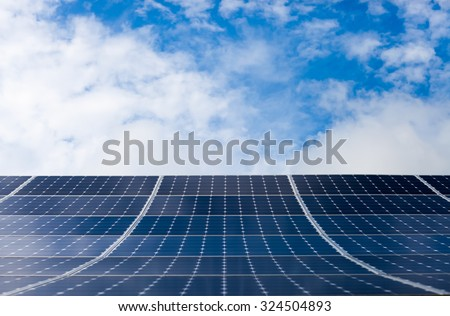 Solar Panel with sky on background - stock photo