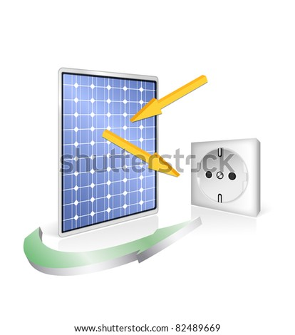 Solar panel with socket - photovoltaic technology - green power and energy concept - eco design - stock photo