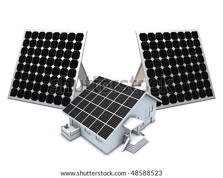 Solar panels and house model isolated on white background - stock photo