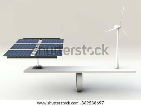 Solar panels and wind turbine on scales - stock photo
