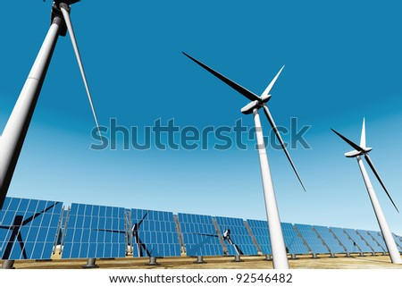 Solar panels and Wind Turbines under blue sky 3D render Energy Concept - stock photo