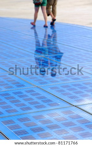 Solar panels array in Croatia - Zadar in Dalmatia. - stock photo
