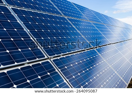 Solar panels background - stock photo