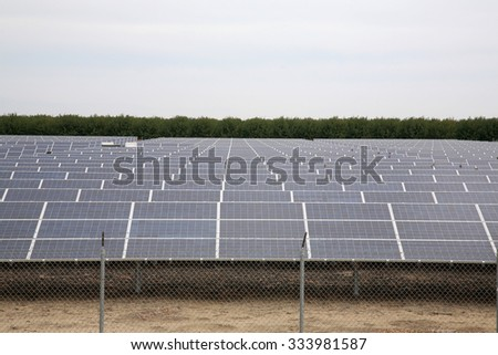 Solar Panels collecting sun light to produce electricity  - stock photo