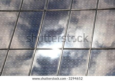 Solar panels in sunlight - stock photo