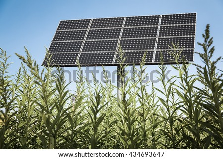 solar panels in the green , clean energy background - stock photo