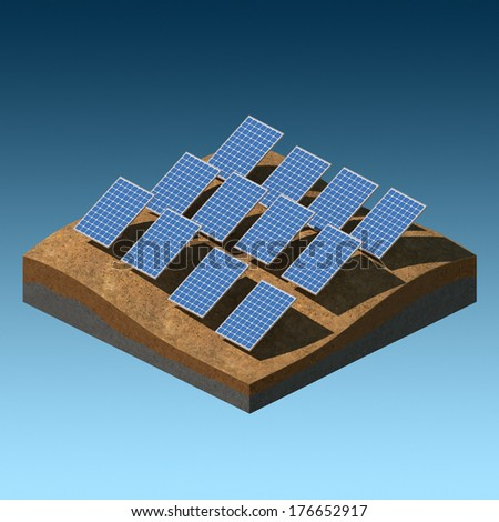 Solar panels on a desert field on gradient background - stock photo