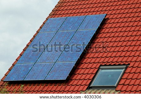 Solar-panels on a roof - stock photo