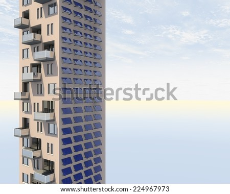 Solar panels on a tower - stock photo