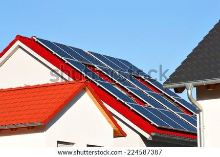 Solar panels on house - stock photo