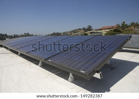 Solar panels on rooftop in Los Angeles; California - stock photo