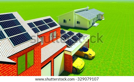 Solar panels on the residential houses - stock photo