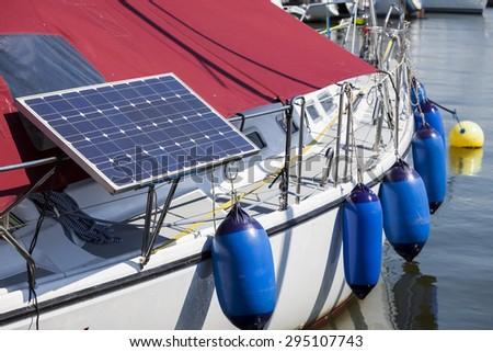 Solar panels on the yacht - stock photo