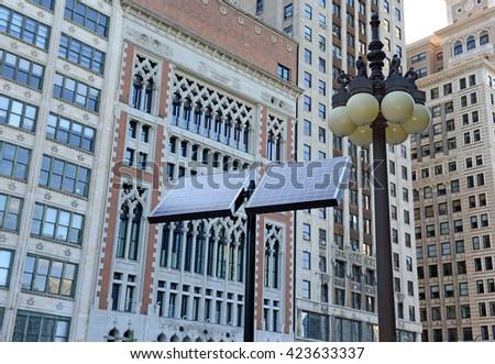 solar panels, photovoltaic cells on city street in Chicago, Illinois - stock photo