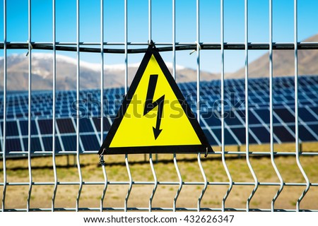 solar panels power plant - stock photo