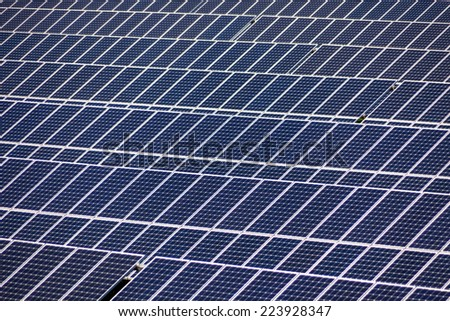 solar panels, symbol photo for alternative energy and sustainability - stock photo