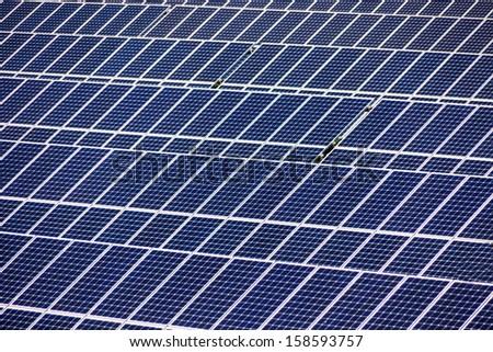 solar panels, symbolic photo for alternative energy and sustainability - stock photo