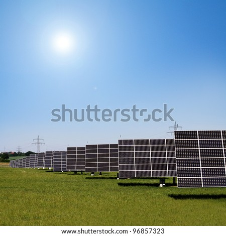 solar panels to generate electricity - stock photo