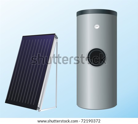 solar panels to the boiler for heating water - stock photo