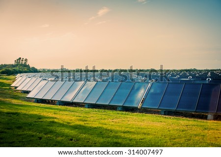 Solar park with blue cells on a green field - stock photo