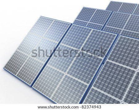 Solar plant. Renewable energy concept on white - stock photo
