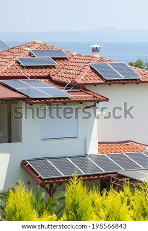 Solar power array on a rooftop - stock photo