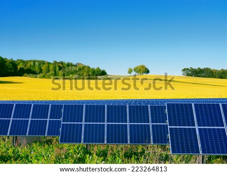 Solar power cells, rapeseed field and a bright blue sky - stock photo