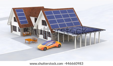 Solar Power House 3d concept, Solar Panels With Lens Flare, Renewable Energy House, Solar Thermal Energy System, House With Alternative Energy Sourses, Solar Panels On a Roof - 3D Rendering - stock photo