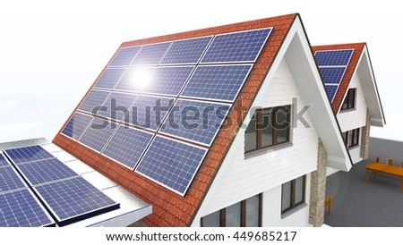 Solar Power House Isolated On White Background, Solar Panels On The Roof With Lens Flare, Renewable Energy House, Future House With Alternative Energy Sourses - 3D Rendering - stock photo