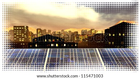 Solar power panels in city - panoramic view - stock photo