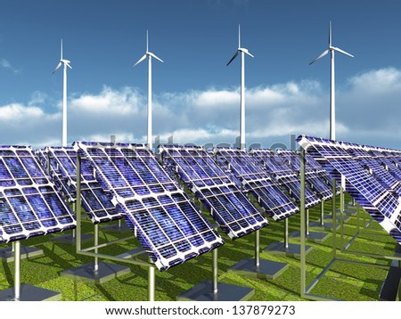 Solar Power Plant and Wind Farm Computer generated 3D illustration - stock photo