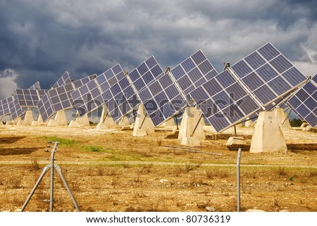 Solar power plant, modern energy in province, Huelva, Andalusia - stock photo