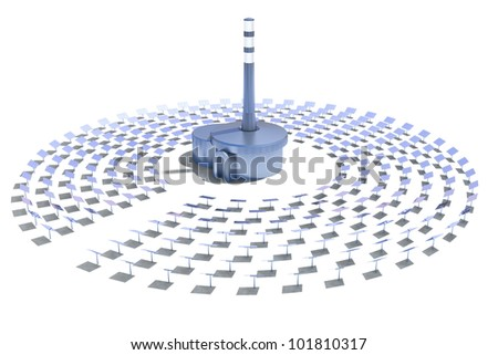 solar power plant on a white background - stock photo