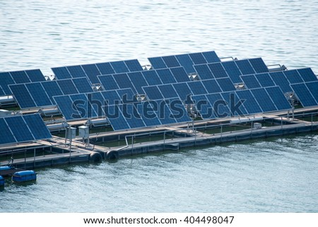 Solar power station float on water - stock photo