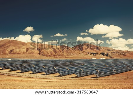 Solar power station in mountains. Nature ecology  energy - stock photo
