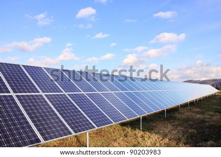 Solar Power Station in the colorful autumn Nature - stock photo
